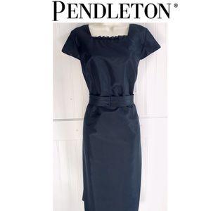 PENDLETON Black Silk Cap Sleeve Belted Dress 12